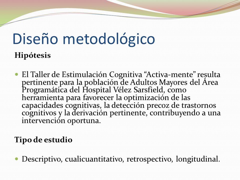 Diseño metodológico Hipótesis El Taller de Estimulación Cognitiva Activa-mente resulta pertinente para la población de Adultos Mayores del Área Programática del Hospital Vélez Sarsfield, como herramienta para favorecer la optimización de las capacidades cognitivas, la detección precoz de trastornos cognitivos y la derivación pertinente, contribuyendo a una intervención oportuna.