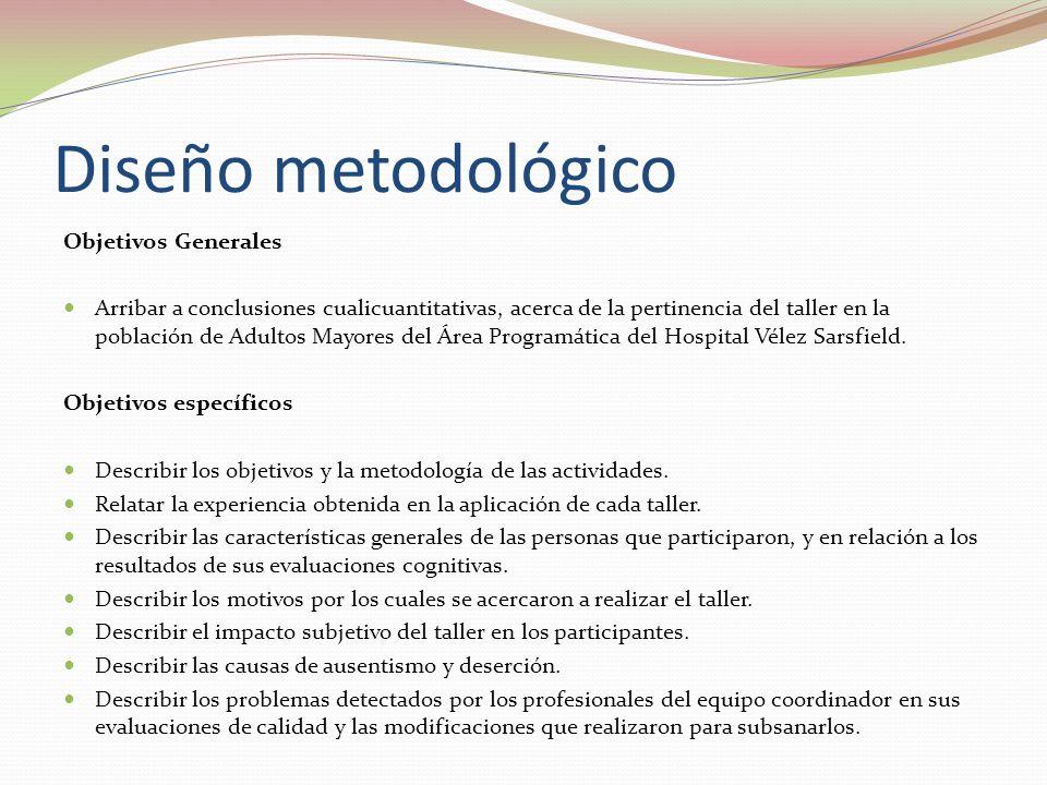 Objetivos Generales Arribar a conclusiones cualicuantitativas, acerca de la pertinencia del taller en la población de Adultos Mayores del Área Programática del Hospital Vélez Sarsfield.