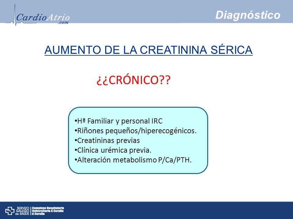 Diagnóstico ¿¿CRÓNICO?? Hª Familiar y personal IRC Riñones pequeños/hiperecogénicos. Creatininas previas Clínica urémica previa. Alteración metabolism