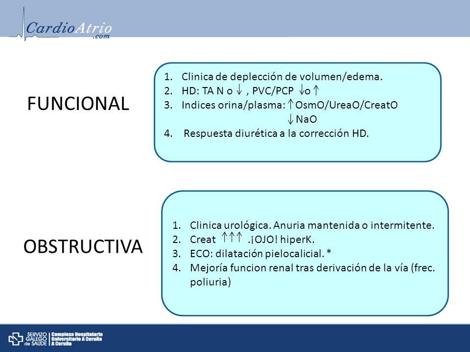 FUNCIONAL 1.Clinica de deplección de volumen/edema. 2.HD: TA N o, PVC/PCP o 3.Indices orina/plasma: OsmO/UreaO/CreatO NaO 4. Respuesta diurética a la