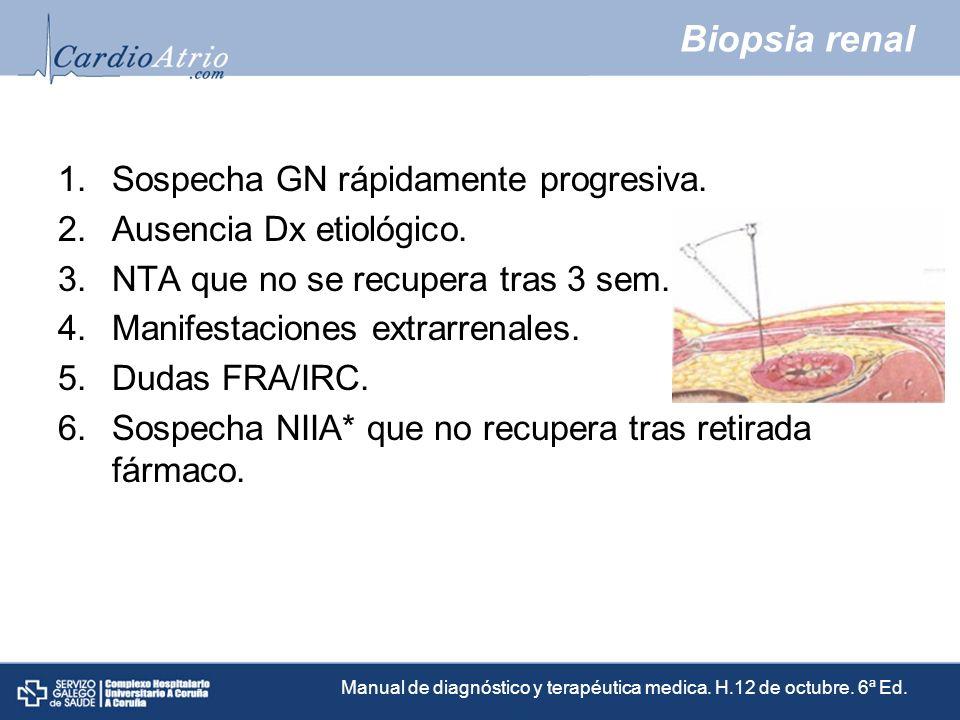 Biopsia renal 1.Sospecha GN rápidamente progresiva. 2.Ausencia Dx etiológico. 3.NTA que no se recupera tras 3 sem. 4.Manifestaciones extrarrenales. 5.