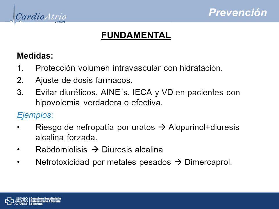 Prevención Medidas: 1.Protección volumen intravascular con hidratación. 2.Ajuste de dosis farmacos. 3.Evitar diuréticos, AINE´s, IECA y VD en paciente