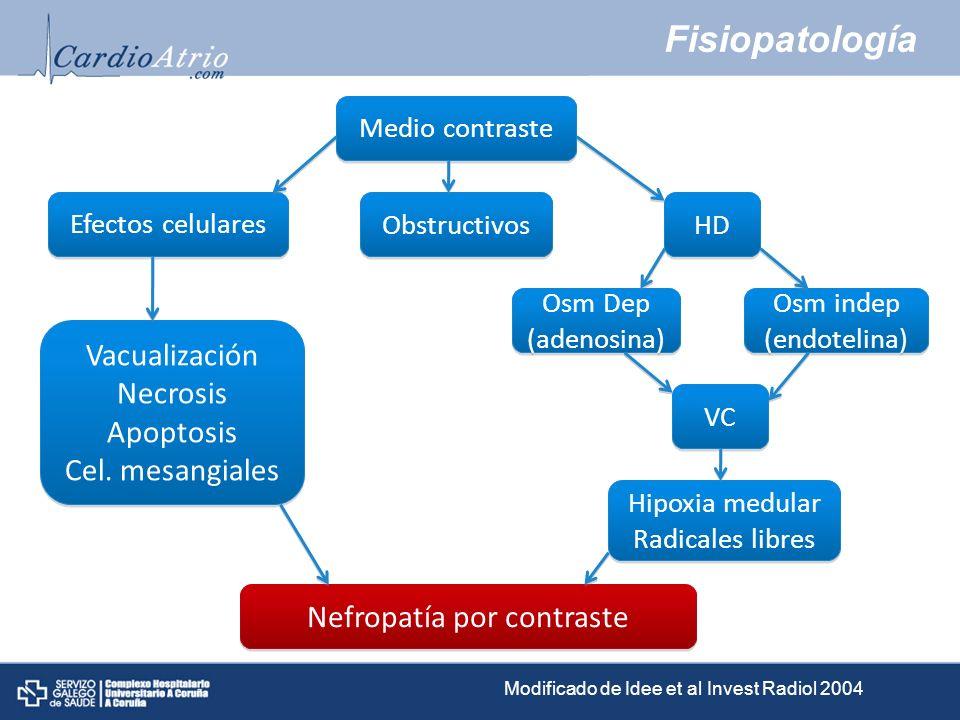 Fisiopatología Medio contraste Efectos celulares Obstructivos HD Osm Dep (adenosina) Osm Dep (adenosina) Osm indep (endotelina) Osm indep (endotelina)