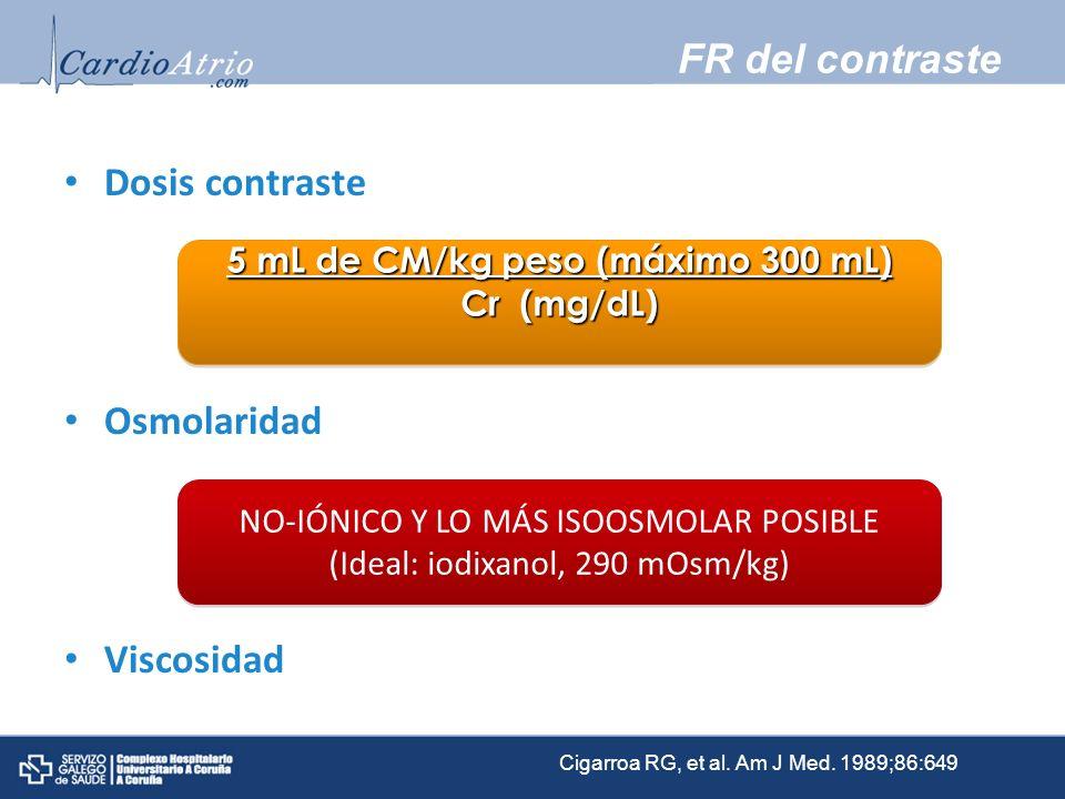 FR del contraste Dosis contraste Osmolaridad Viscosidad 5 mL de CM/kg peso (máximo 300 mL) Cr (mg/dL) 5 mL de CM/kg peso (máximo 300 mL) Cr (mg/dL) NO