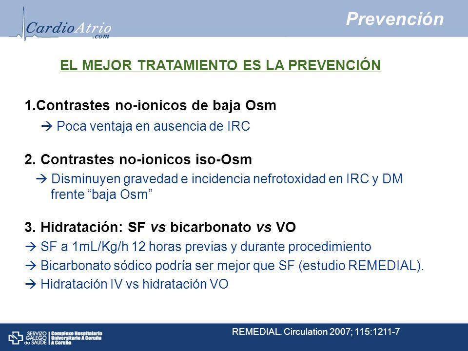 Prevención 1.Contrastes no-ionicos de baja Osm Poca ventaja en ausencia de IRC 2. Contrastes no-ionicos iso-Osm Disminuyen gravedad e incidencia nefro