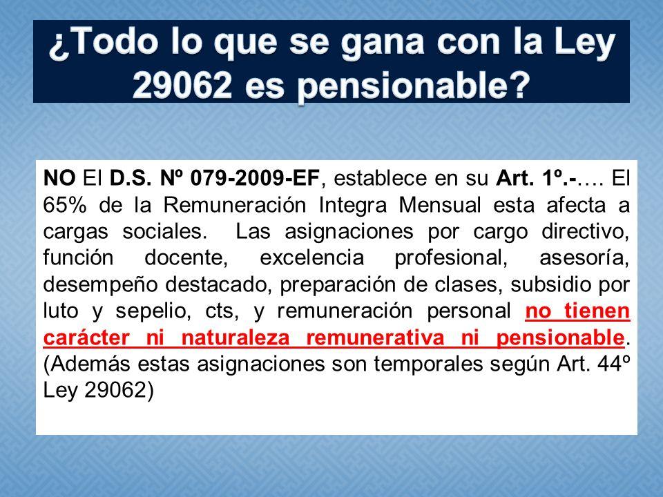 NO El D.S. Nº 079-2009-EF, establece en su Art. 1º.-…. El 65% de la Remuneración Integra Mensual esta afecta a cargas sociales. Las asignaciones por c