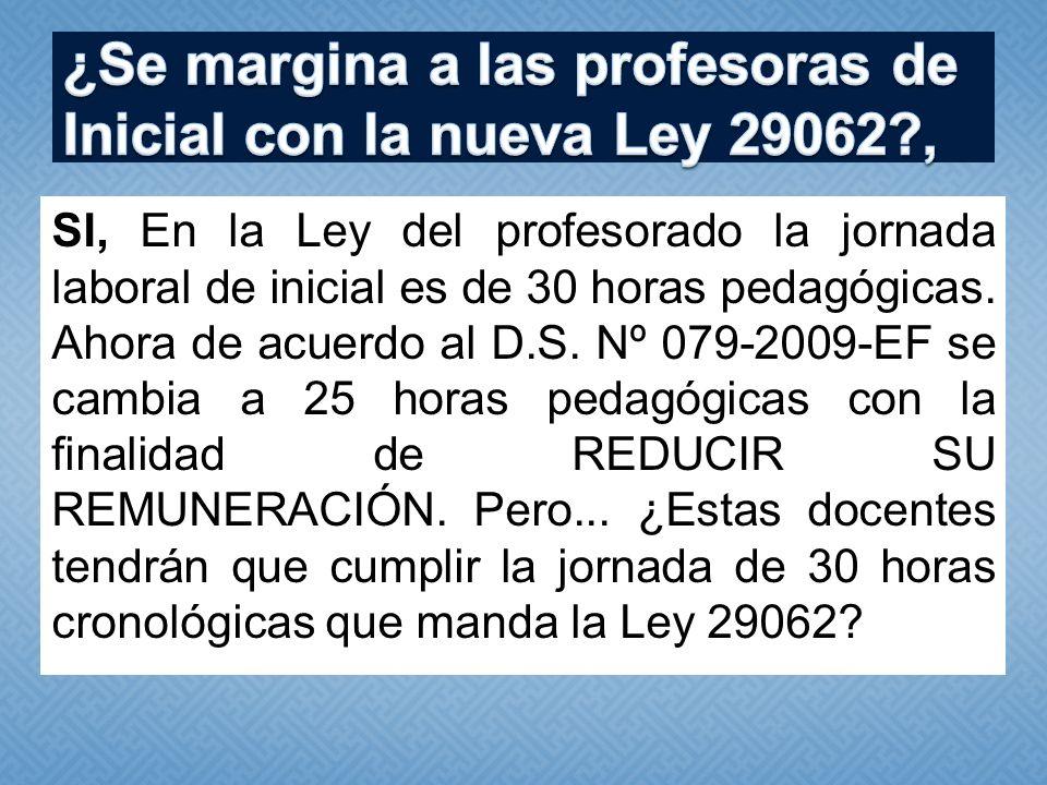 SI, En la Ley del profesorado la jornada laboral de inicial es de 30 horas pedagógicas. Ahora de acuerdo al D.S. Nº 079-2009-EF se cambia a 25 horas p