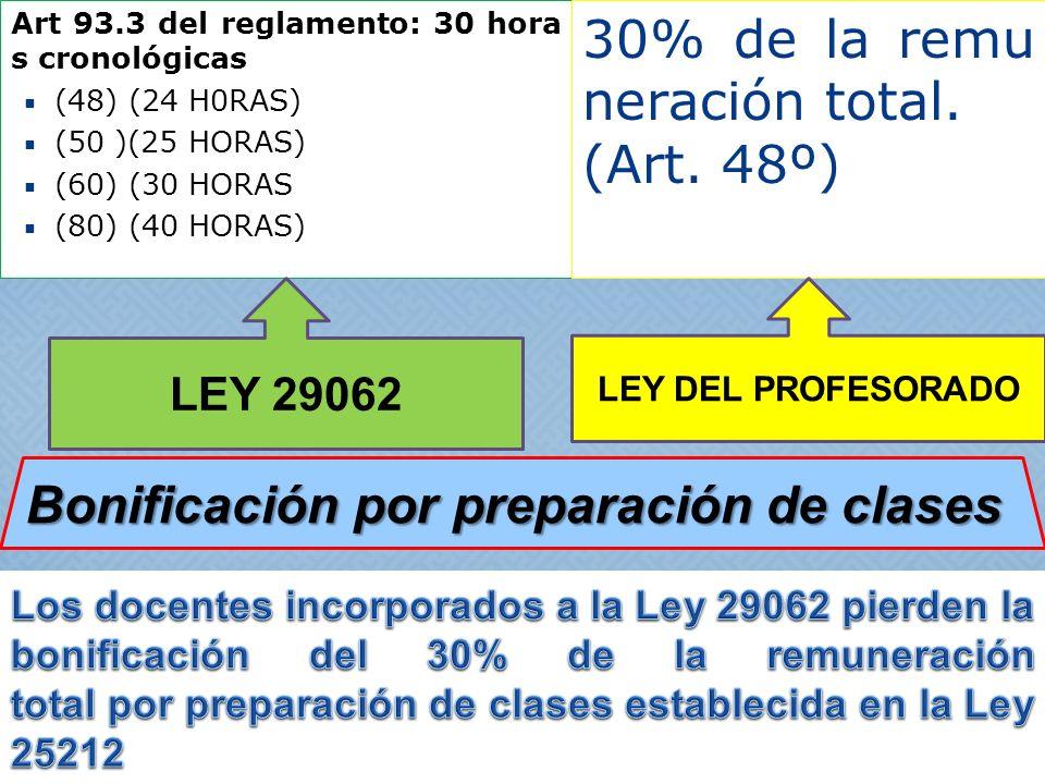 Art 93.3 del reglamento: 30 hora s cronológicas (48) (24 H0RAS) (50 )(25 HORAS) (60) (30 HORAS (80) (40 HORAS) 30% de la remu neración total. (Art. 48
