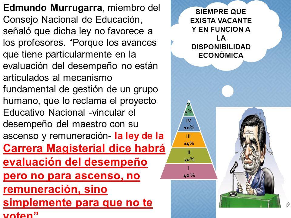 Edmundo Murrugarra, miembro del Consejo Nacional de Educación, señaló que dicha ley no favorece a los profesores. Porque los avances que tiene particu