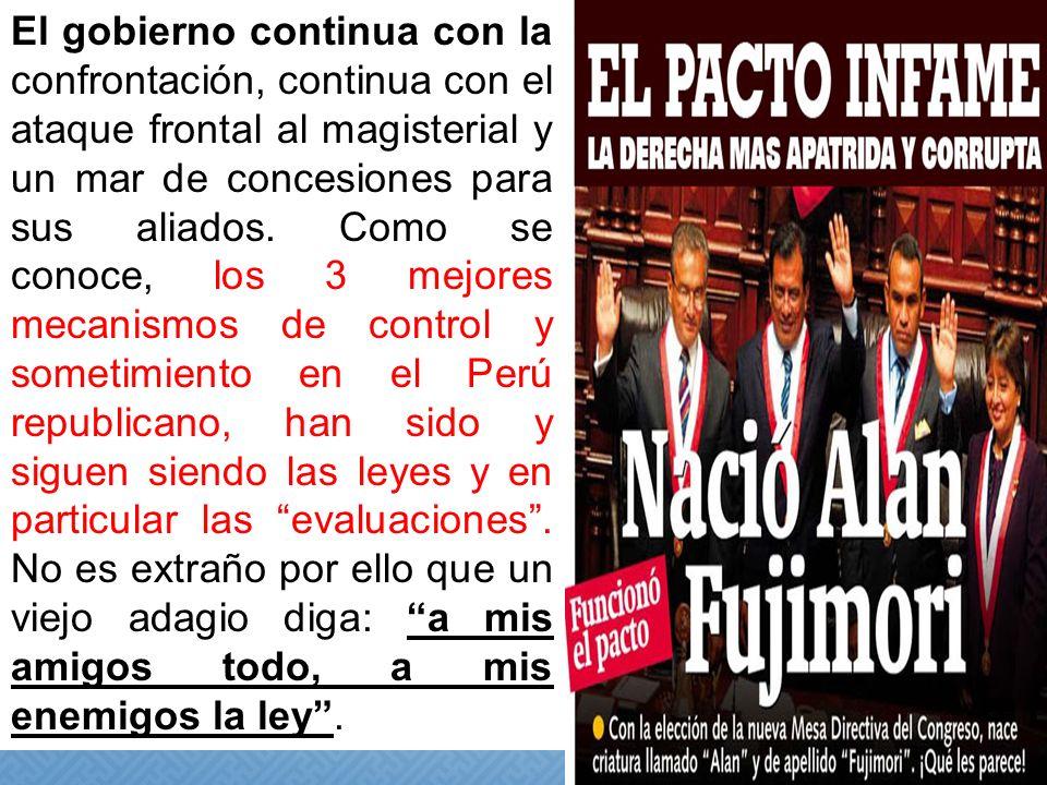 PROPUESTAS DEL SUTEP LEY DE CPM 29062 DEBE COMPRENDER A TODOS LOS PROFESORES EN SERVICIO Y TAMBIEN A CESANTES Y JUBILADOS ATROPELLA EL CARÁCTER PUBLICO DE LA CPM SISTEMA DE FORMACION CONTINUA EN SERVICIO SOLO PROGRAMA DE FORMACION Y CAPACITACION SISTEMA DE REMUNERACION CON PISO SALARIAL DE 60% DE LA UIT CONGELA SUELDOS EN FUNCION DEL ASCENSO DEFENSA DE LA ESTABILIDAD LABORAL PLANTEA LA INVALIDEZ DE TITULOS VIA EVALUACION RECONOCIMIENTO DE LOS DERECHOS SINDICALES ELIMINA LOS DERECHOS PROFESIONALES Y CIUDADANOS RECONOCIMIENTO DE LA LABOR PEDAGOGICA IMPONE JORNADA LABORAL DE 30 HORAS CRONOLOGICAS VIGENCIA DEL STATUS PROFESIONAL PEDAGOGICO LIBERALIZA LA CARRERA PUBLICA POLITICA DE PREVISION SOCIAL REDUCE SUBSIDIOS Y BENEFICIOS SISTEMA DE EVALUACIÒN INTEGRAL Y FORMATIVA IMPONE PRUEBAS ESCRITAS MANIPULADAS