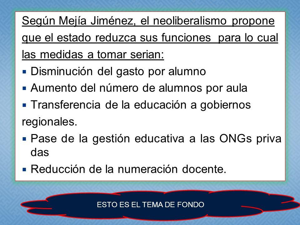 Según Mejía Jiménez, el neoliberalismo propone que el estado reduzca sus funciones para lo cual las medidas a tomar serian: Disminución del gasto por