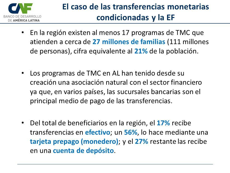 El caso de las transferencias monetarias condicionadas y la EF En la región existen al menos 17 programas de TMC que atienden a cerca de 27 millones d