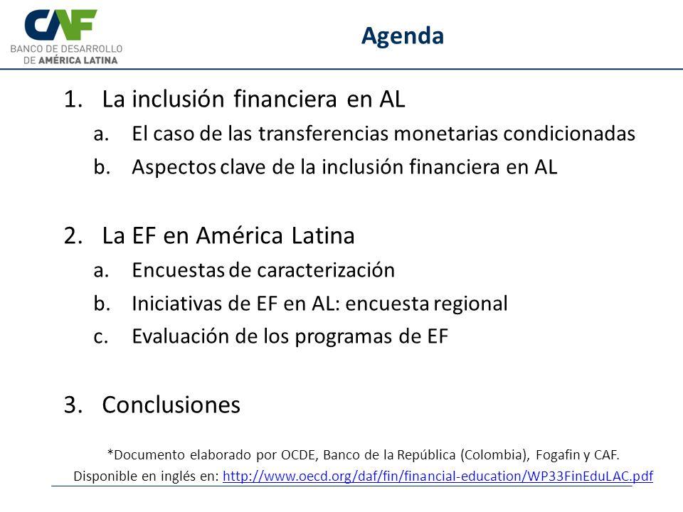 Agenda 1.La inclusión financiera en AL a.El caso de las transferencias monetarias condicionadas b.Aspectos clave de la inclusión financiera en AL 2.La