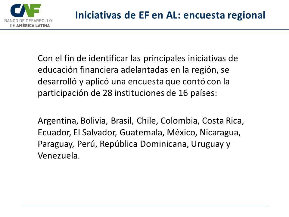 Iniciativas de EF en AL: encuesta regional Con el fin de identificar las principales iniciativas de educación financiera adelantadas en la región, se