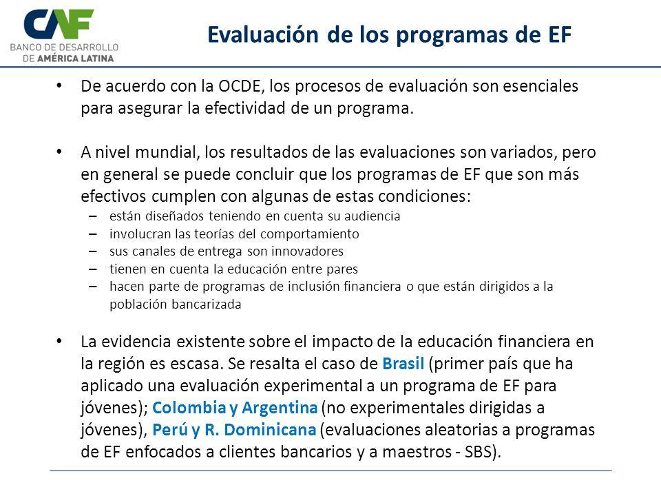 Evaluación de los programas de EF De acuerdo con la OCDE, los procesos de evaluación son esenciales para asegurar la efectividad de un programa. A niv
