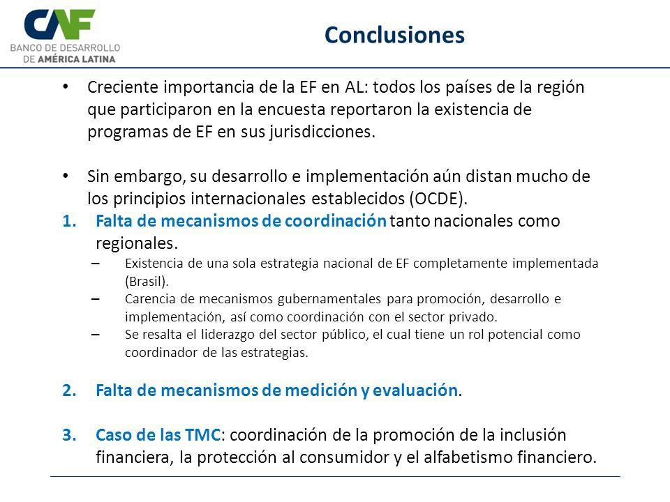 Creciente importancia de la EF en AL: todos los países de la región que participaron en la encuesta reportaron la existencia de programas de EF en sus