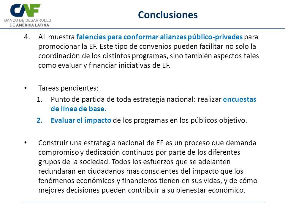 Conclusiones 4.AL muestra falencias para conformar alianzas público-privadas para promocionar la EF. Este tipo de convenios pueden facilitar no solo l