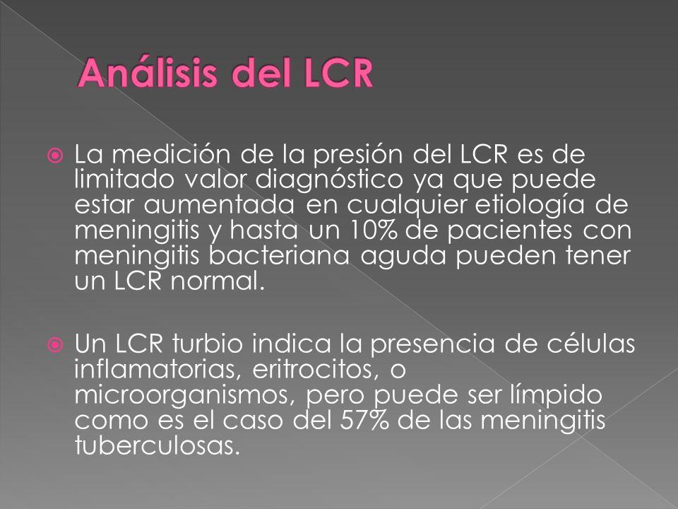 La medición de la presión del LCR es de limitado valor diagnóstico ya que puede estar aumentada en cualquier etiología de meningitis y hasta un 10% de