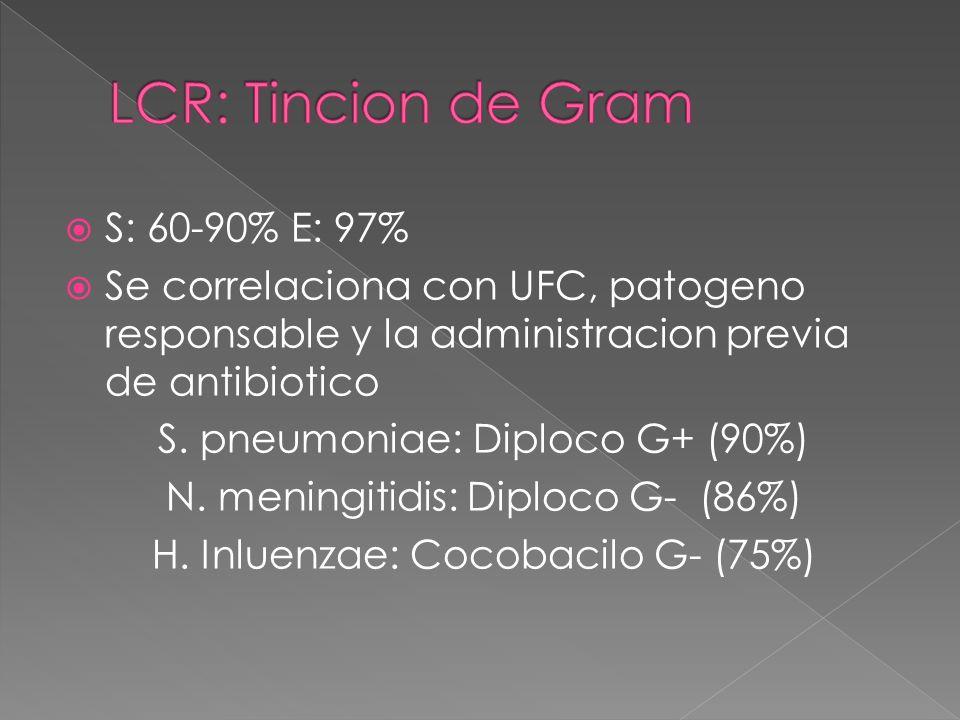 S: 60-90% E: 97% Se correlaciona con UFC, patogeno responsable y la administracion previa de antibiotico S. pneumoniae: Diploco G+ (90%) N. meningitid
