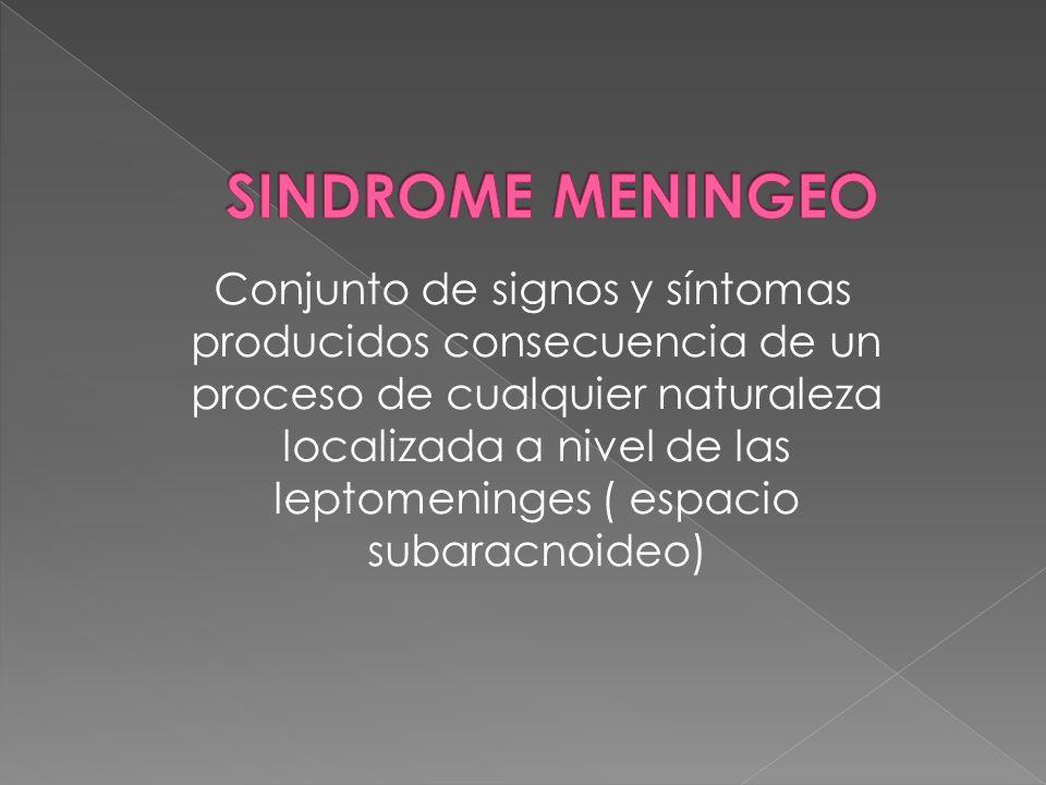 Conjunto de signos y síntomas producidos consecuencia de un proceso de cualquier naturaleza localizada a nivel de las leptomeninges ( espacio subaracn