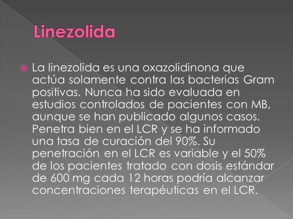 La linezolida es una oxazolidinona que actúa solamente contra las bacterias Gram positivas. Nunca ha sido evaluada en estudios controlados de paciente