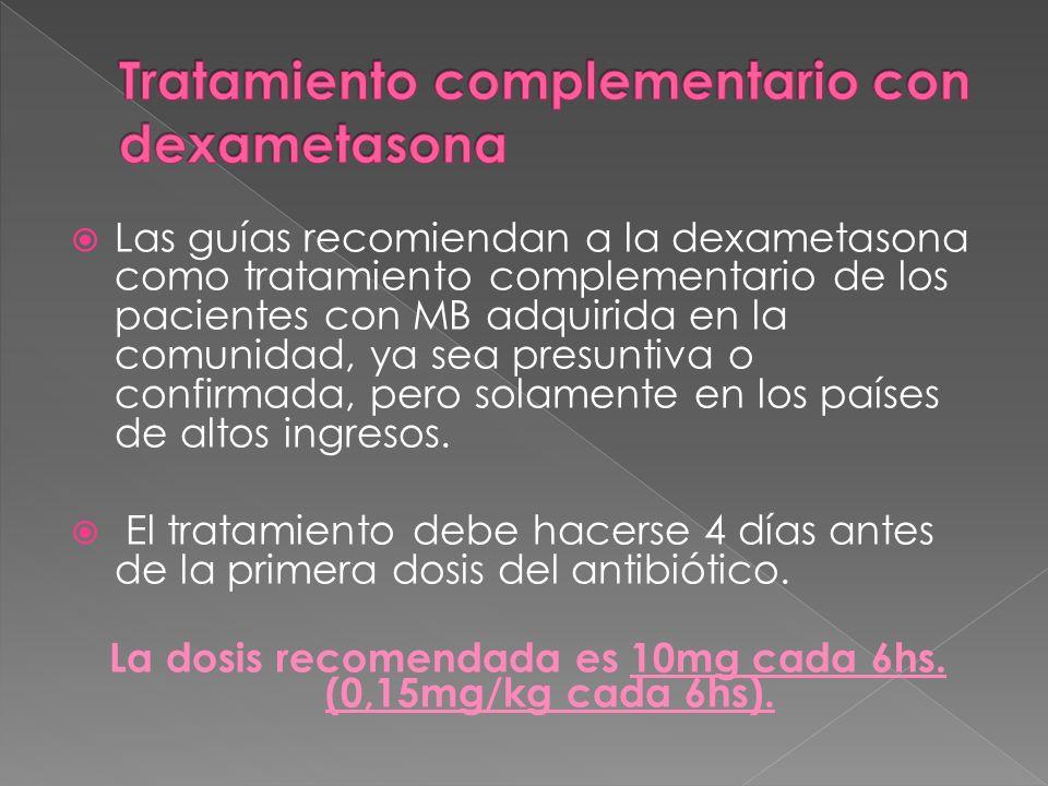 Las guías recomiendan a la dexametasona como tratamiento complementario de los pacientes con MB adquirida en la comunidad, ya sea presuntiva o confirm