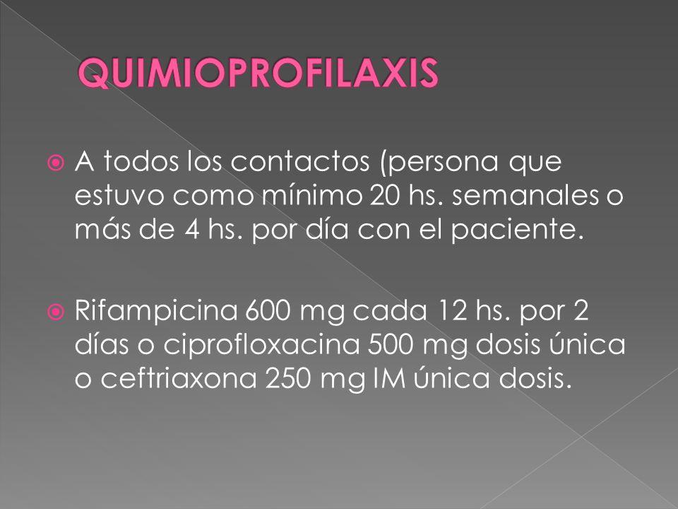 A todos los contactos (persona que estuvo como mínimo 20 hs. semanales o más de 4 hs. por día con el paciente. Rifampicina 600 mg cada 12 hs. por 2 dí