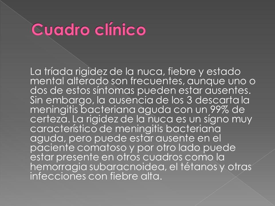 Fiebre (75–95%) Cefalea (80–95%) Fotofobia (30–50%) Vómitos (90% de los niños; 10% de los adultos)