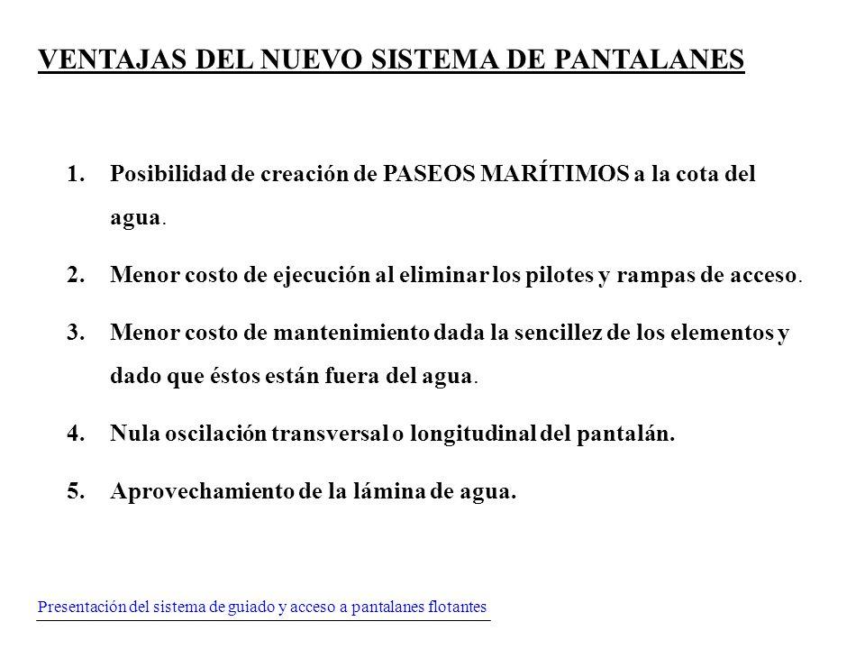 Presentación del sistema de guiado y acceso a pantalanes flotantes VENTAJAS DEL NUEVO SISTEMA DE PANTALANES 1.Posibilidad de creación de PASEOS MARÍTI