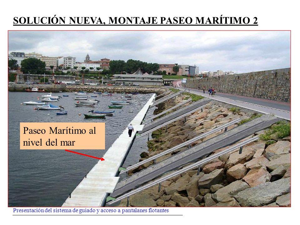Presentación del sistema de guiado y acceso a pantalanes flotantes SOLUCIÓN NUEVA, MONTAJE PASEO MARÍTIMO 2 Paseo Marítimo al nivel del mar