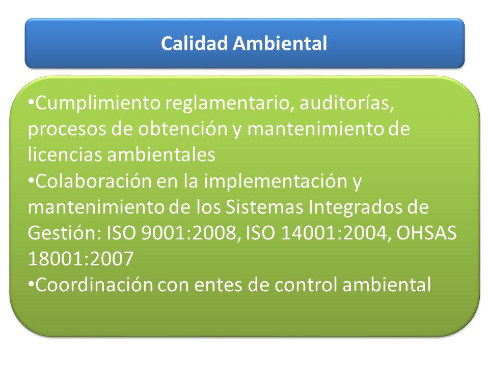 Calidad Ambiental Cumplimiento reglamentario, auditorías, procesos de obtención y mantenimiento de licencias ambientales Colaboración en la implementa