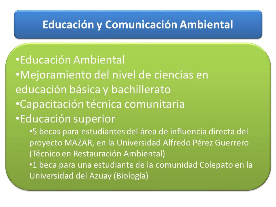 Educación y Comunicación Ambiental Educación Ambiental Mejoramiento del nivel de ciencias en educación básica y bachillerato Capacitación técnica comu