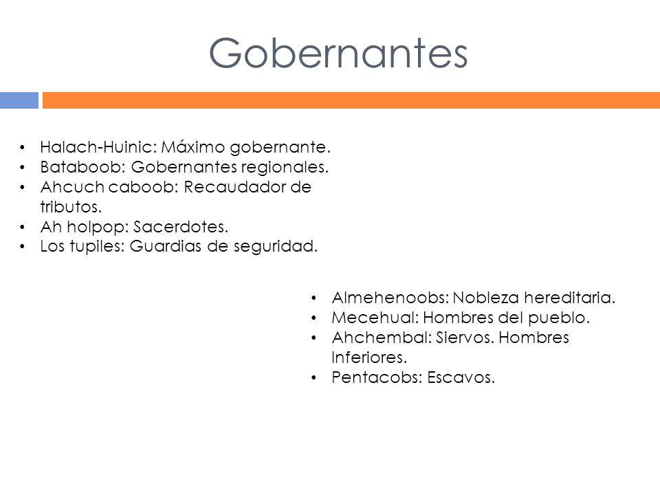 Gobernantes Halach-Huinic: Máximo gobernante.Bataboob: Gobernantes regionales.