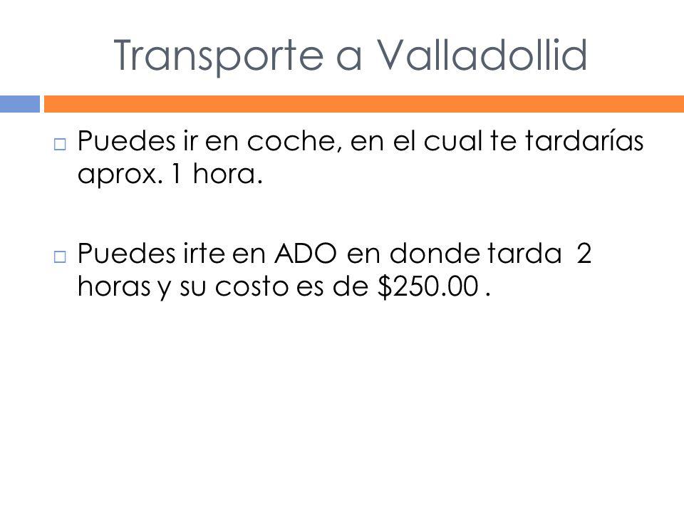Transporte a Valladollid Puedes ir en coche, en el cual te tardarías aprox.