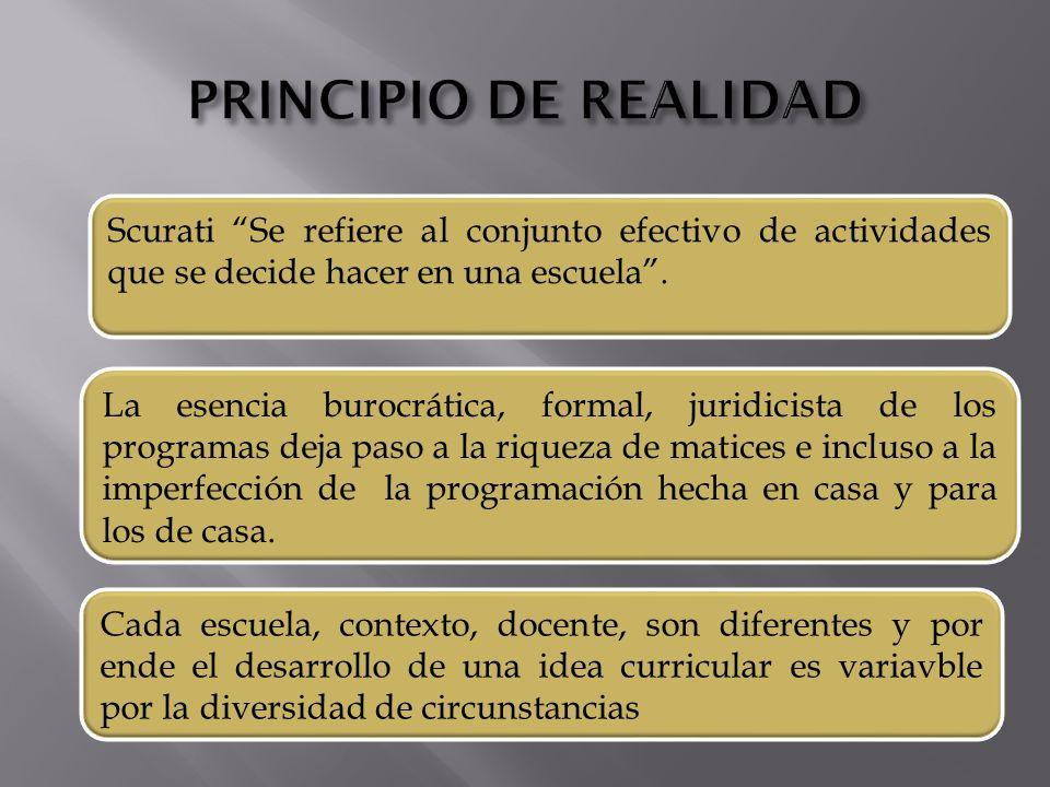 Scurati Se refiere al conjunto efectivo de actividades que se decide hacer en una escuela.