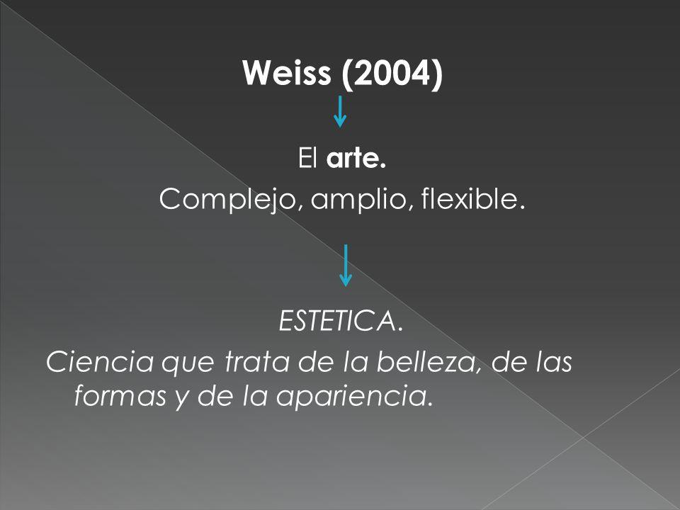 Weiss (2004) El arte. Complejo, amplio, flexible. ESTETICA. Ciencia que trata de la belleza, de las formas y de la apariencia.