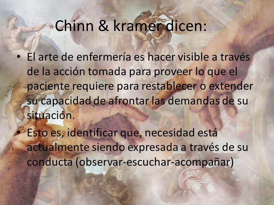 Chinn & kramer dicen: El arte de enfermería es hacer visible a través de la acción tomada para proveer lo que el paciente requiere para restablecer o