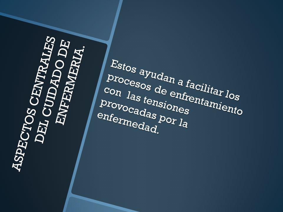 ASPECTOS CENTRALES DEL CUIDADO DE ENFERMERIA. Estos ayudan a facilitar los procesos de enfrentamiento con las tensiones provocadas por la enfermedad.