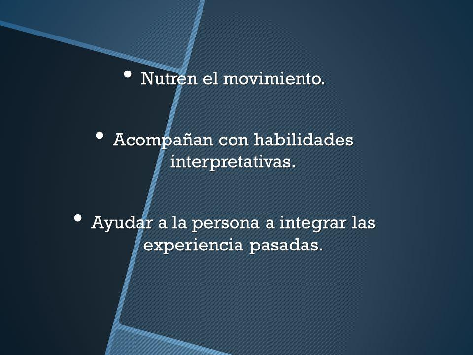 Nutren el movimiento. Nutren el movimiento. Acompañan con habilidades interpretativas. Acompañan con habilidades interpretativas. Ayudar a la persona