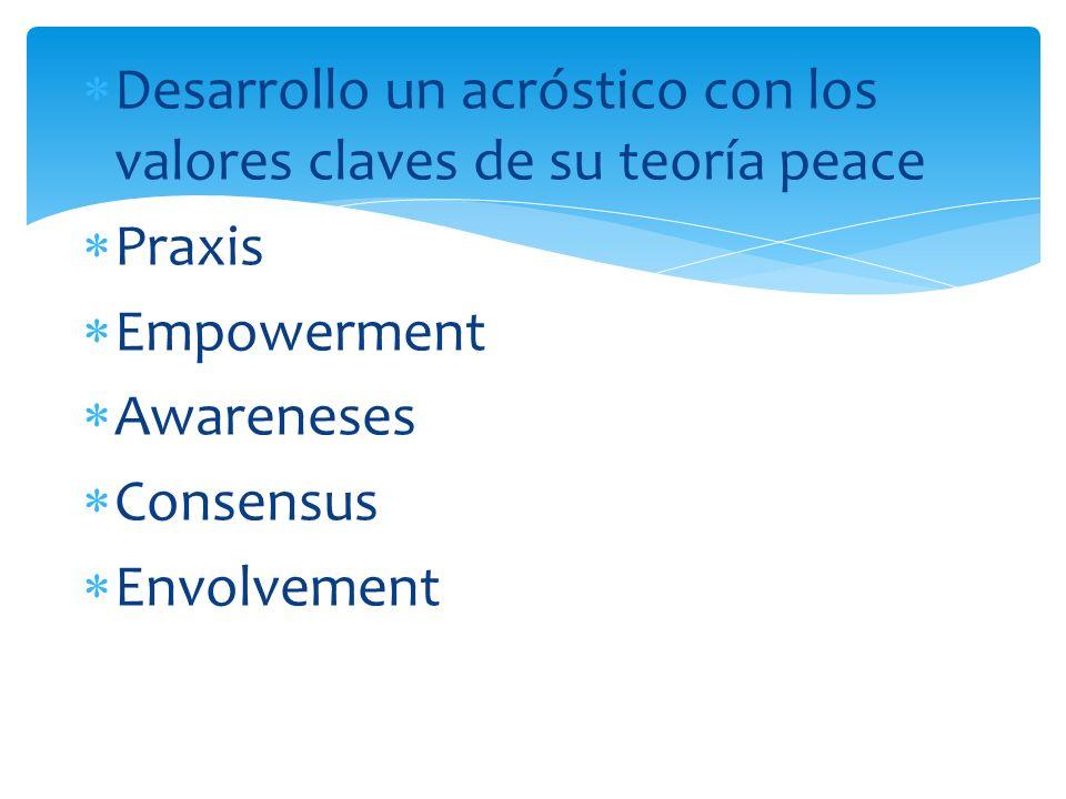 Desarrollo un acróstico con los valores claves de su teoría peace Praxis Empowerment Awareneses Consensus Envolvement