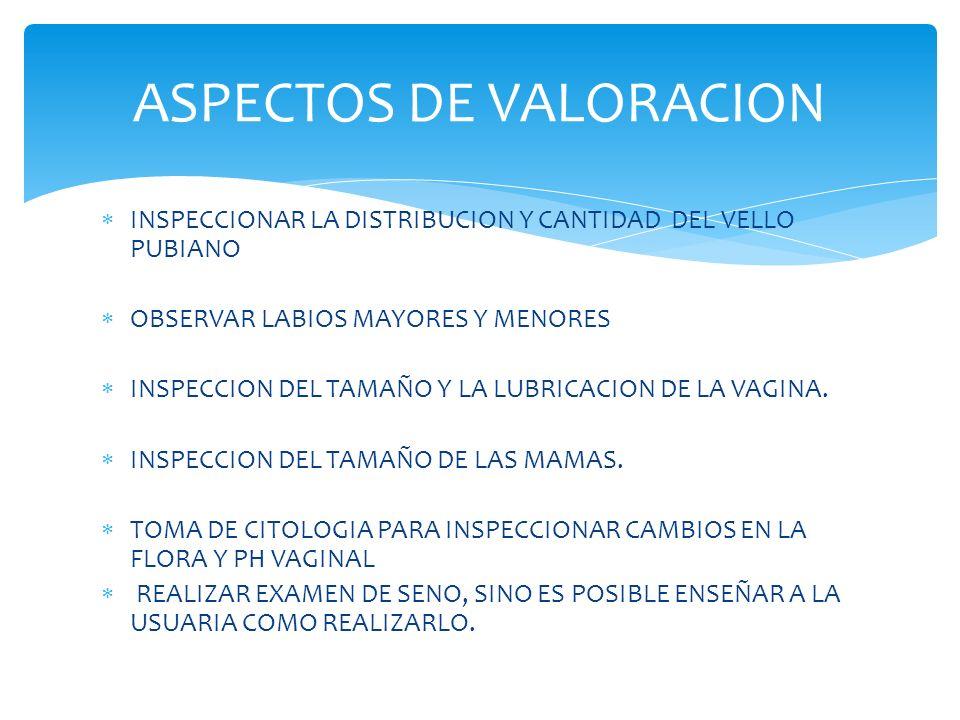 INSPECCIONAR LA DISTRIBUCION Y CANTIDAD DEL VELLO PUBIANO OBSERVAR LABIOS MAYORES Y MENORES INSPECCION DEL TAMAÑO Y LA LUBRICACION DE LA VAGINA.