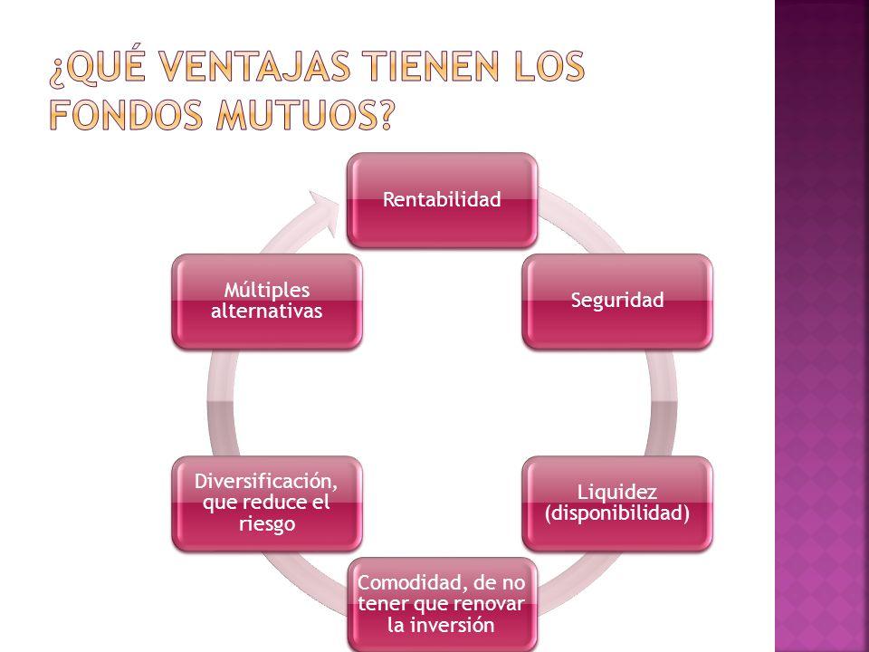 RentabilidadSeguridad Liquidez (disponibilidad) Comodidad, de no tener que renovar la inversión Diversificación, que reduce el riesgo Múltiples altern