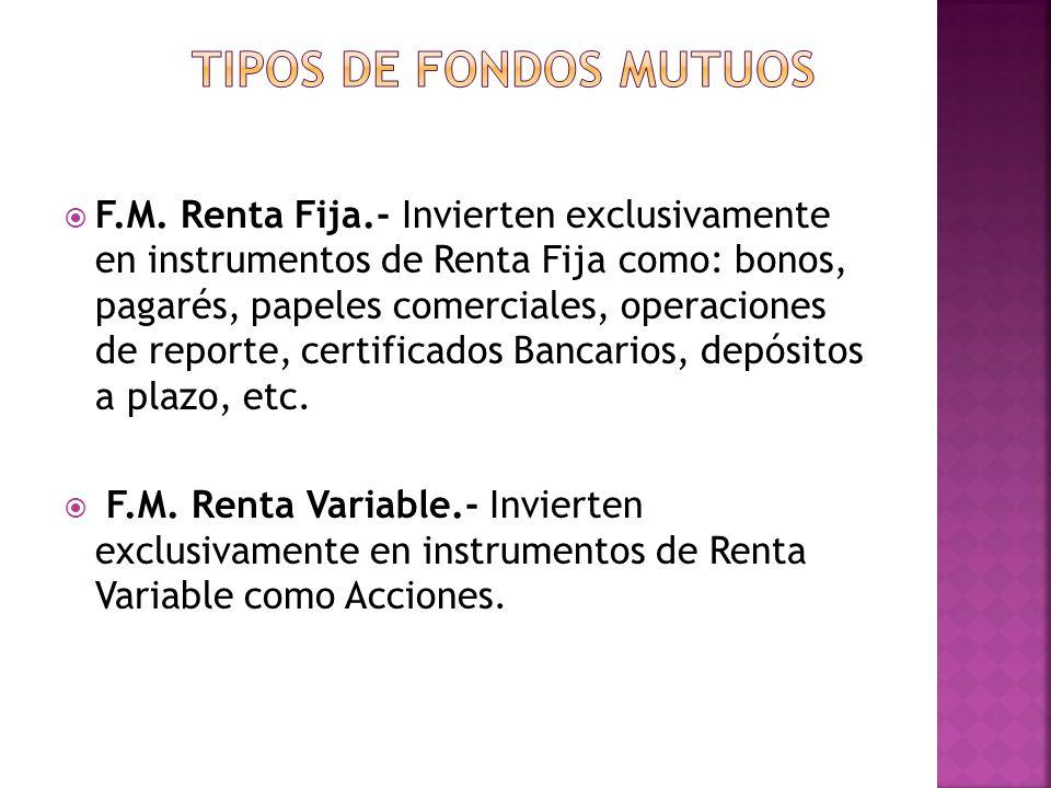 F.M. Renta Fija.- Invierten exclusivamente en instrumentos de Renta Fija como: bonos, pagarés, papeles comerciales, operaciones de reporte, certificad