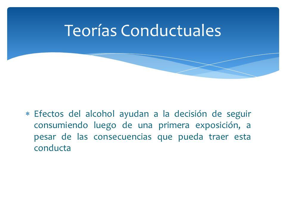 Efectos del alcohol ayudan a la decisión de seguir consumiendo luego de una primera exposición, a pesar de las consecuencias que pueda traer esta cond