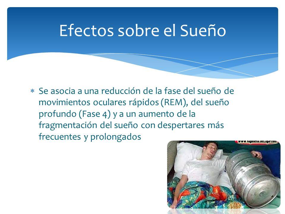 Se asocia a una reducción de la fase del sueño de movimientos oculares rápidos (REM), del sueño profundo (Fase 4) y a un aumento de la fragmentación d