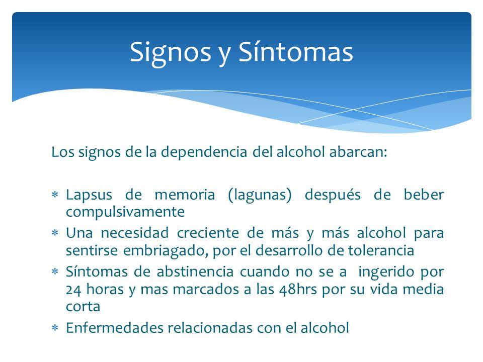 Los signos de la dependencia del alcohol abarcan: Lapsus de memoria (lagunas) después de beber compulsivamente Una necesidad creciente de más y más al