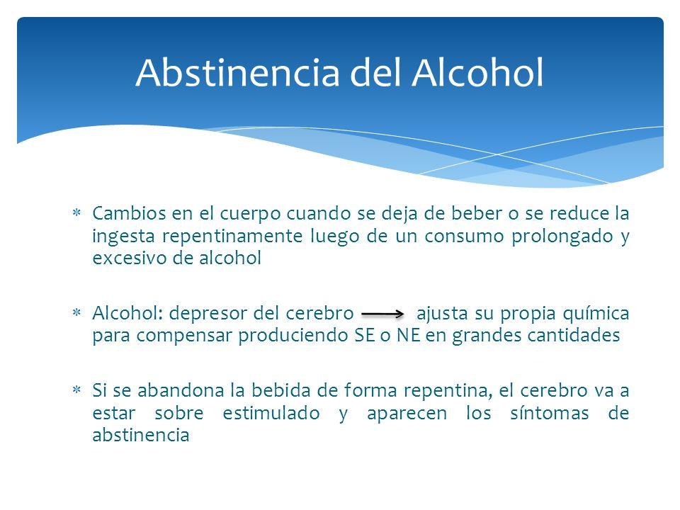 Cambios en el cuerpo cuando se deja de beber o se reduce la ingesta repentinamente luego de un consumo prolongado y excesivo de alcohol Alcohol: depre