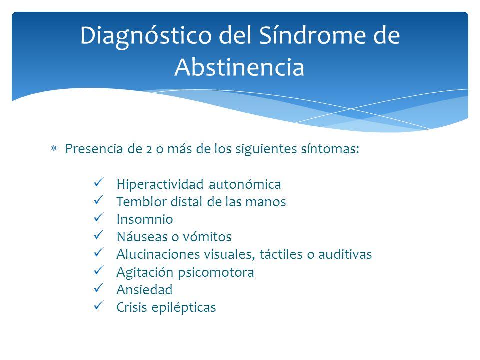 Presencia de 2 o más de los siguientes síntomas: Hiperactividad autonómica Temblor distal de las manos Insomnio Náuseas o vómitos Alucinaciones visual