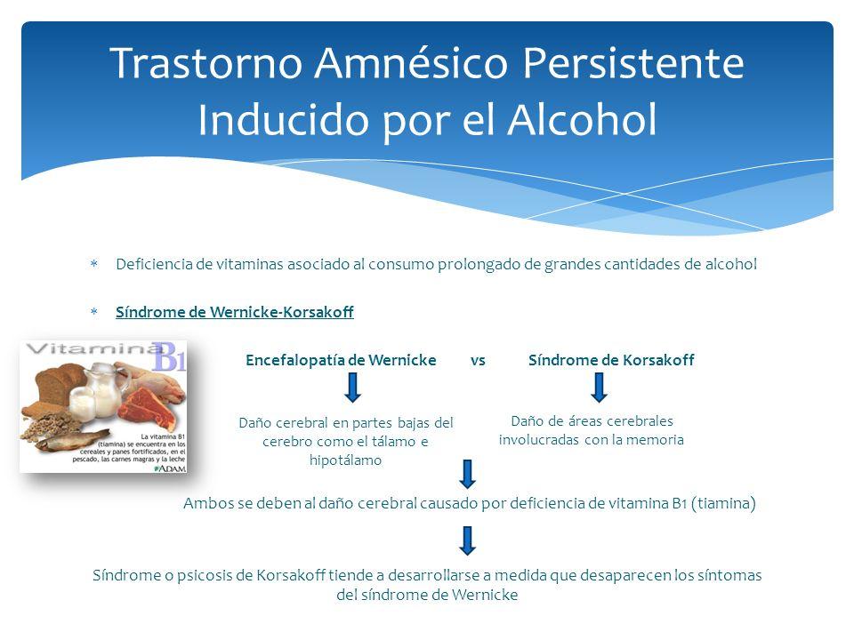 Deficiencia de vitaminas asociado al consumo prolongado de grandes cantidades de alcohol Síndrome de Wernicke-Korsakoff Encefalopatía de Wernicke vs S