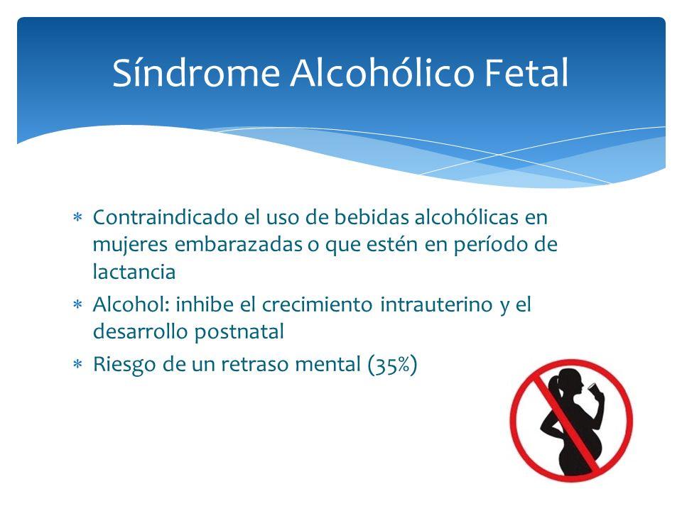 Contraindicado el uso de bebidas alcohólicas en mujeres embarazadas o que estén en período de lactancia Alcohol: inhibe el crecimiento intrauterino y